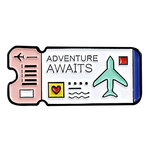 CHoppyWAVE Enamel Brooch Pin,Fly Ticket English Letter Adventure Awaits Badge Lapel Brooch Pin Jewelry Gift - White (Backpack Dollar)