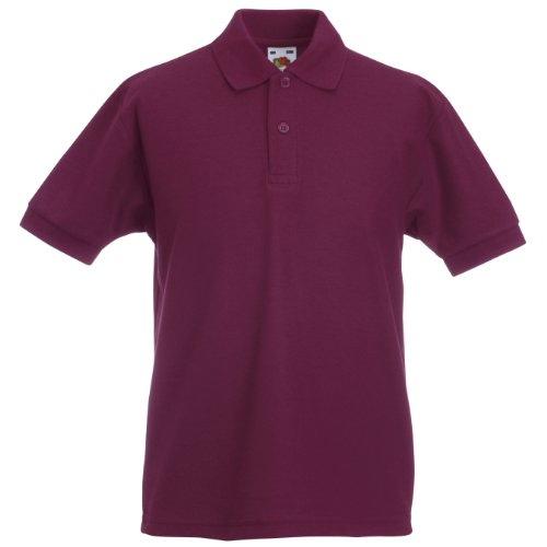 FRUIT OF THE LOOM CHILDRENS UNISEX PIQUE POLO SHIRT - 12 COLOURS (AGE - 5/6, BURGUNDY)