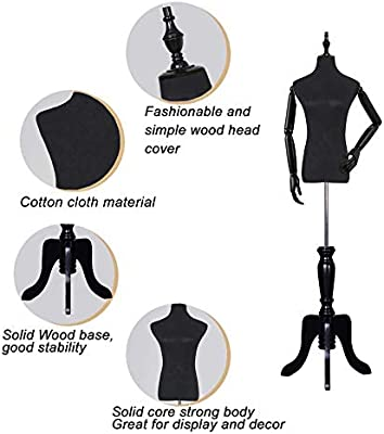 Amazon Com Upgraded Female Dress Form Black Mannequin Body Torso With Wooden Tripod Base Stand Adjustable Height 135 180cm Color Have An Arm Size Medium Home Kitchen