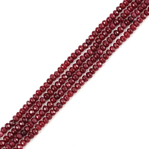 Garnet Clasp - 5 Strands Natural Garnet Red Quartz Gemstone 4mm Rondelle Spacer Stone Beads for Jewelry Craft Making GH1R-3