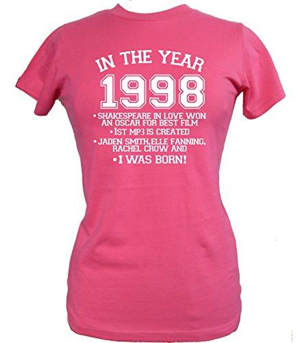 """Sábana bajera para cama de para mujer 16th con texto en inglés y T-camiseta de manga corta ' en la 1998 del año del buey.... """" fucsia"""