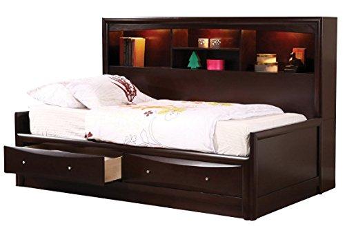 Coaster Fine Furniture, Cama Individual de Madera con Espacio para Almacenamiento 400410T, Cappuccin