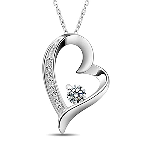 Shally Women's 18K White Gold Overlay Sterling Silver Forever Lover Heart Pendant Necklace 16'' Love - Cubic Zirconia Pendant Jewelry