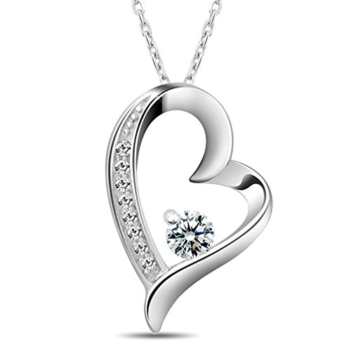 Shally Women's 18K White Gold Plated You Are the Only One in My Heart Necklace