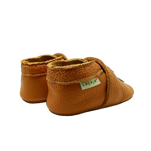 Sayoyo Suaves Zapatos De Cuero Del Bebé Zapatillas Oso y Molinos de viento marrón