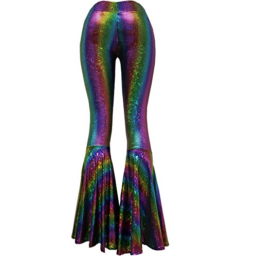 Iridescent Mermaid Scale Party Halloween Costumes Holographic High Waisted Wide Leg Yoga Bell Bottoms Flare Pants Leggings (L, 375DRW3)