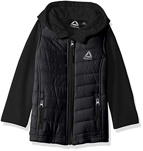 Reebok Girls' Toddler' Active Quilted Softshell Jacket, Black, 4T
