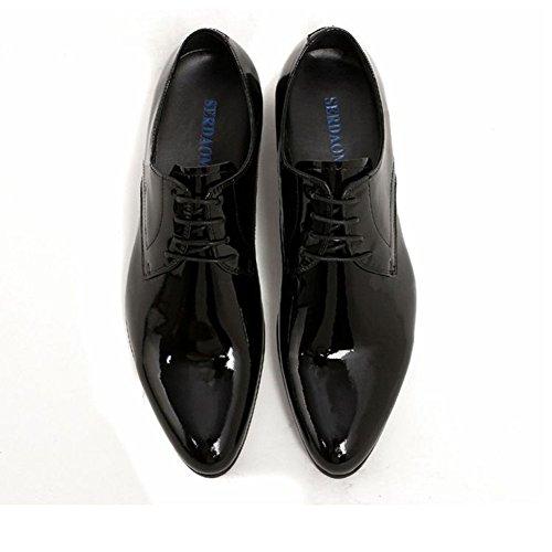 Santimon-mens Lederen Handgeweven Veterboots Oxford Schoenen Zwart