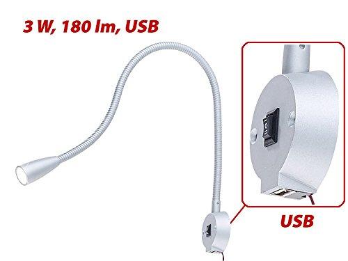 Lampe de chevet murale /à col de cygne et port de chargement USB Lunartec