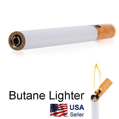 Metal Cigarette Shaped Refillable Butane Gas Flame Cigarette Cigar Lighter (Shaped Lighter Butane)