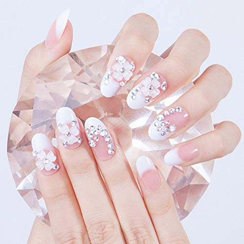 Drecode Bridal Wedding Fake Nails Tip Bling Rhinestone Flower Full Cover Acrylic False Nail Prom Clip Press on Nails for Women and Girls(24Pcs)