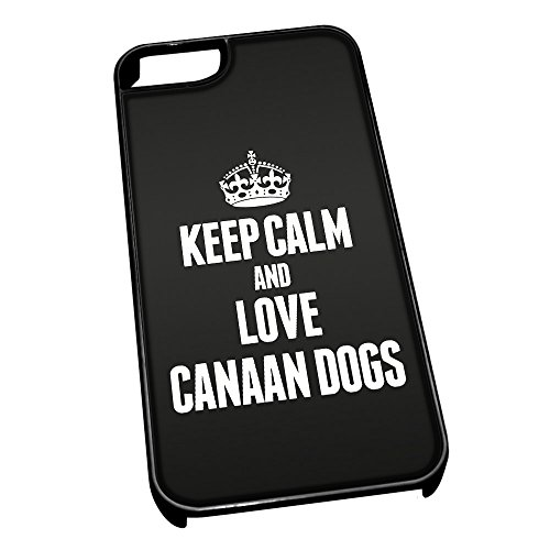 Nero cover per iPhone 5/5S 1992nero Keep Calm and Love Canaan Dogs