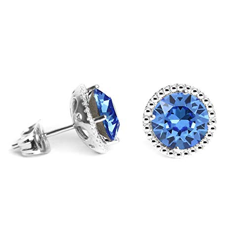 Swarovski Earrings, September Birthstone Sapphire Color Swarovski Stud Earrings for Women and Girls, Swarovski Crystal Earring Studs with Certificate and Warranty, Hypoallergenic Stud Earrings