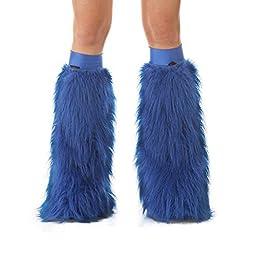TrYptiX Women's Fluffy Leg Warmers Royal Blue One Size w/ Blue Kneebands