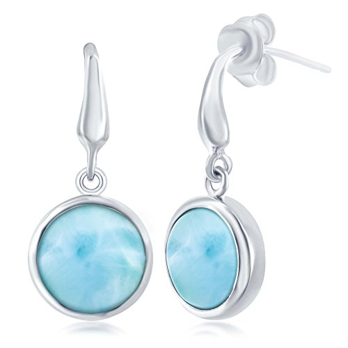 Sterling Silver High Polish Bezel-Set Natural Larimar Round Earrings