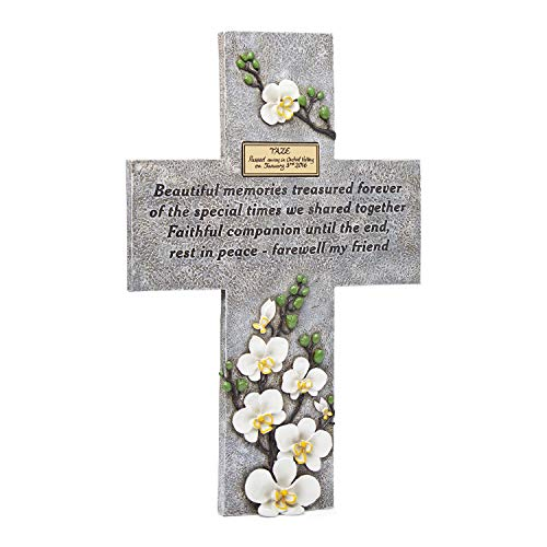 Orchid Valley Pet Memorial Grave Marker Cross Suitable for Any Animal, Cat, Dog, Horse, Guinea Pig, Rabbit etc. Supplied with Blank Plaque to Personalize. (Tombstones Pet Markers)
