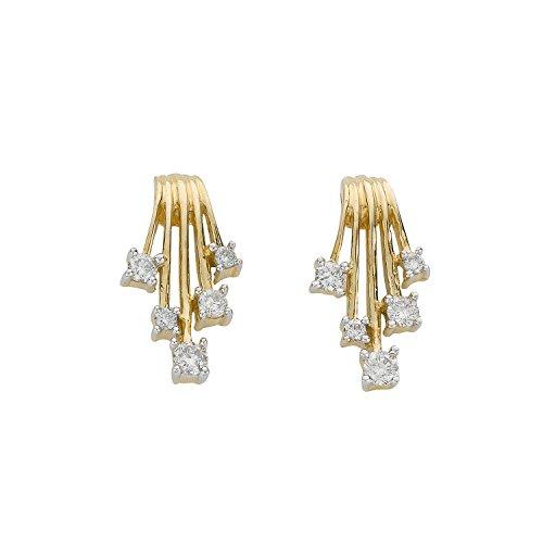 Jareeya-Pluie de diamant, Or jaune 9ct, diamants 0.25CT Boucles d'oreille à tige