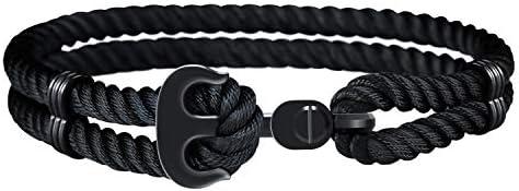 Amtier Anker Armband für Männer Frauen mit Geschenkbox, Nylon geflochtenes Seil Edelstahl Anker Armbänder für Paar...