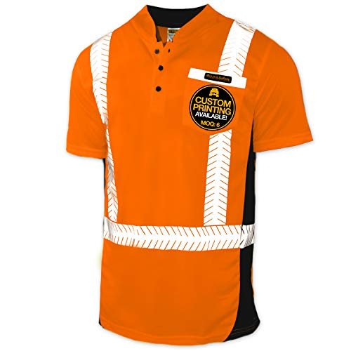 KwikSafety (Charlotte, NC) ESTIMATOR (Y-Neck Button with POCKET) Class 2 ANSI High Visibility Safety Shirt Fishbone Reflective Tape Construction Security HiVis Clothing Men Short Sleeve Orange Medium (Orange Construction Tape)