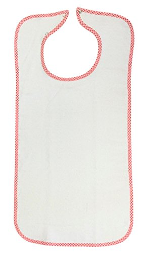 White Washable Adult Bib-Terry Cloth with Snap Closure (White)