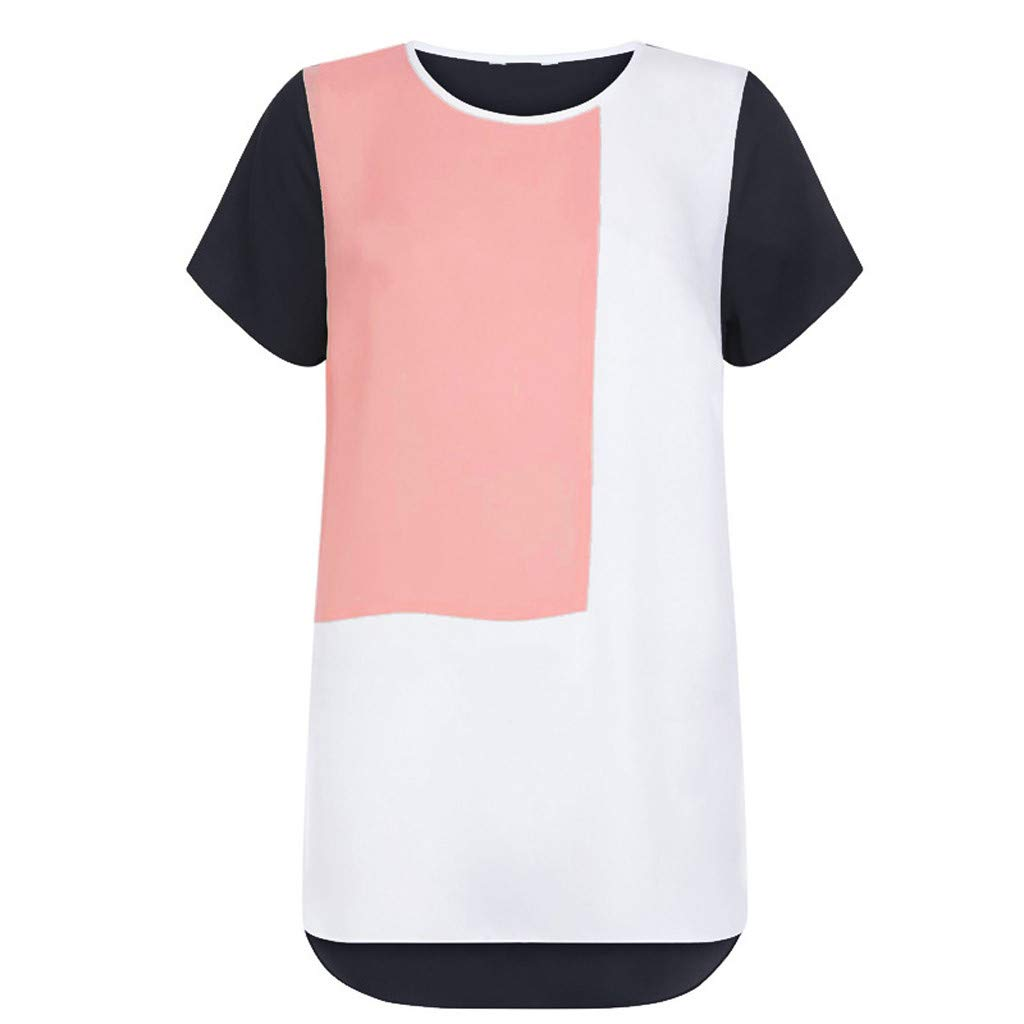 Zackate Womens Plus Sizes Chiffon O-Neck Short Sleeve T Shirt Patchwork Top Ladies Blouse Tee Sweatshirts Black