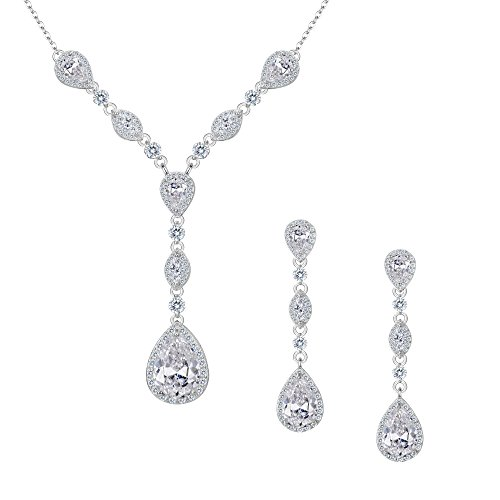 FANZE Women's Full Prong Cubic Zirconia Teardrop Pear Shape Y Necklace Pierced Earrings Wedding Jewelry Set Silver-Tone by FANZE