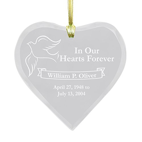 GiftsForYouNow Engraved Remembrance Heart Personalized Ornament, 4