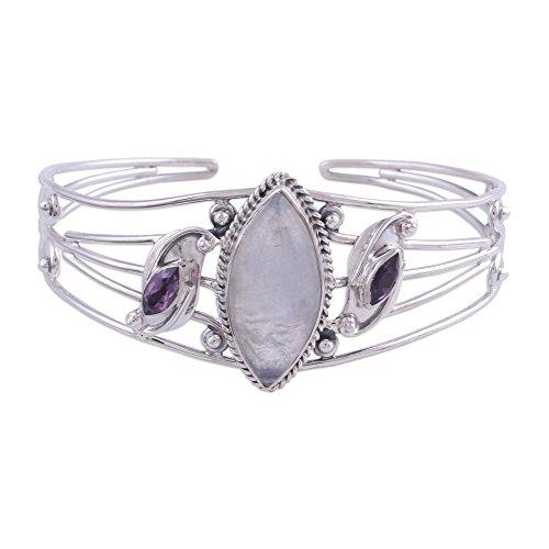 NOVICA Rainbow Moonstone Amethyst .925 Sterling Silver Cuff Bracelet 'Feminine Glow' (India Bracelet Arm)