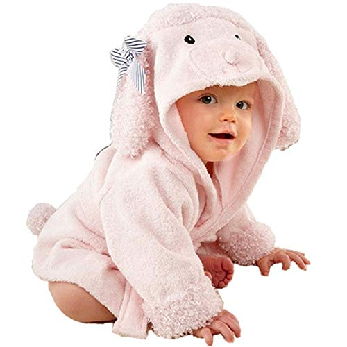 Baby Girl Bathrobes Wash Waddle Pink Dog Hooded Robe Girls Bath Robe Towel Terry Cotton Ultra Absorbent