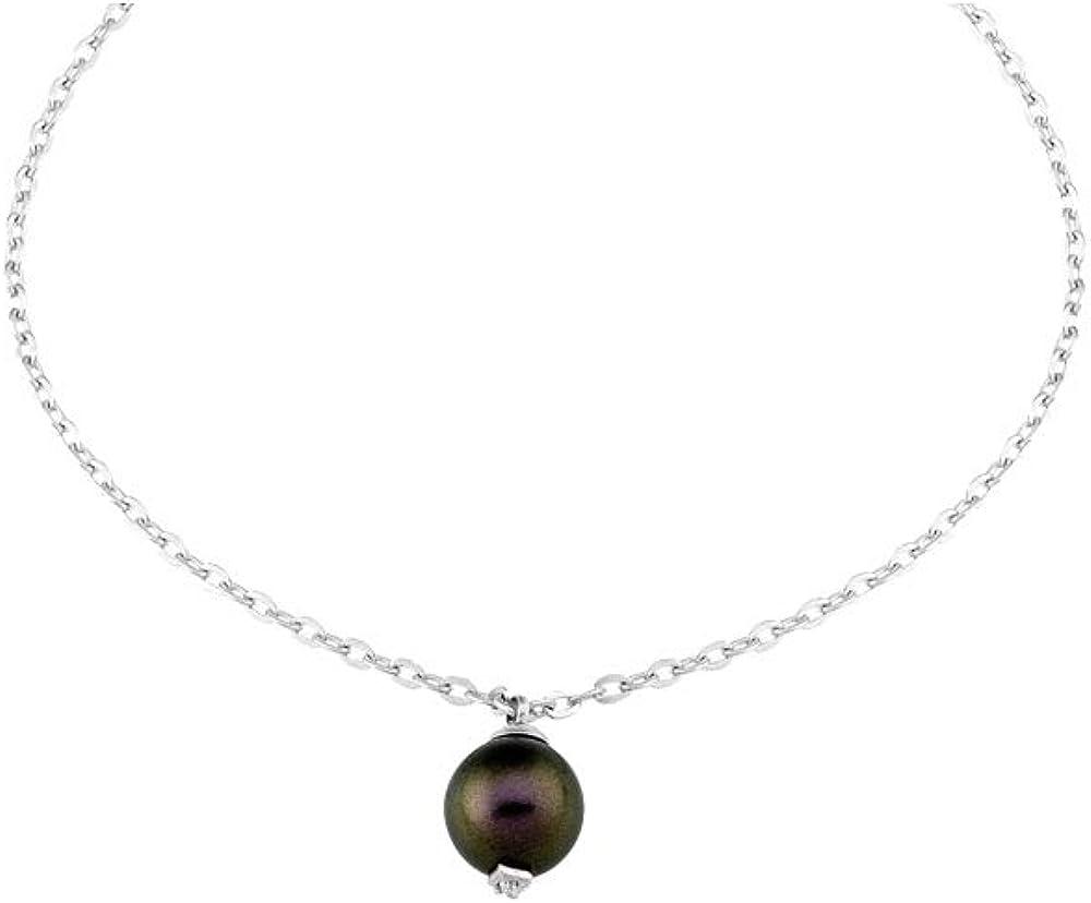 Majorica Pulsera Cadena Mujer en Plata con Perla y Diamante - 15430.82.2.000.010.1