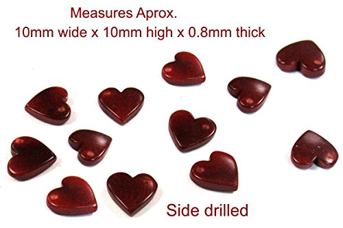 12 Units Laser Cut Tagua Nut Hearts Tagua Beads - Side Drilled