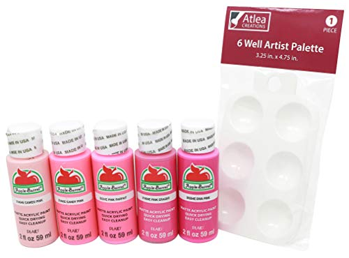 Apple Barrel Pink Acrylic Paints & Complimentary Palette Set - Cameo, Candy, Parfait, Eraser, Diva Pink Colors (5 Bottles, 2 Ounces Each) -  681920027164, ACREA047