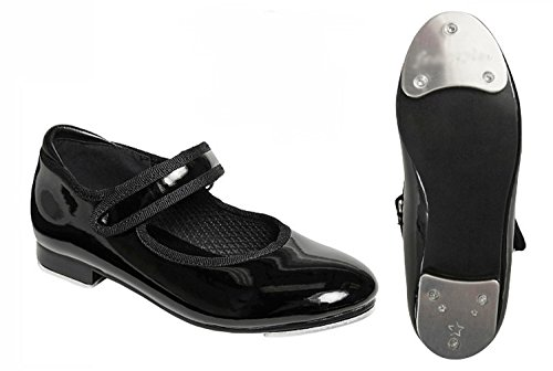 Shiny Black Patent Faux Leather Mary Jane Strap Tap Shoes for Girls (13) Small medium
