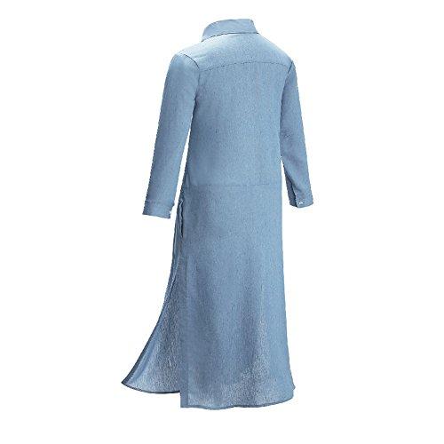 Wintco Damen Langarm Hemdkleid Blusenkleid Jeans Kleid Maxikleid