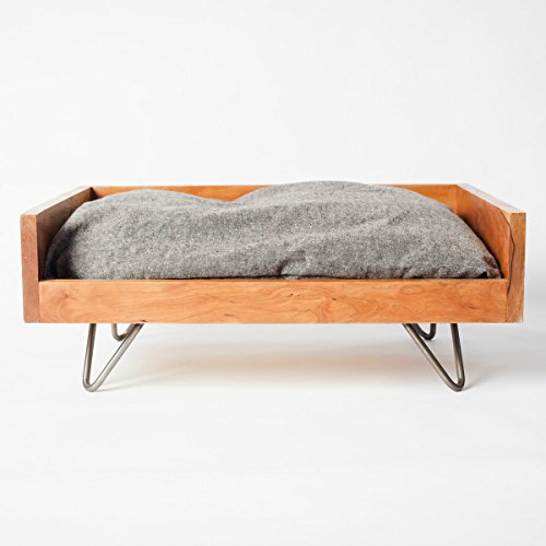 Pillow Sized Pet FURniture Washable, Durable, Elevated, Modern, Cherry Wood by Cozy Cama Pet FURniture