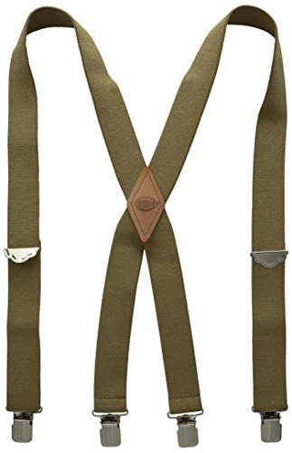 Dickies Men's 1-1/2 Solid Straight Clip Suspender,Olive,One Size (Duluth Suspenders)