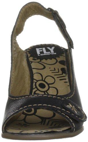 Fly London Drive - Zapatos de tacón de cuero mujer negro - Black Borgogna