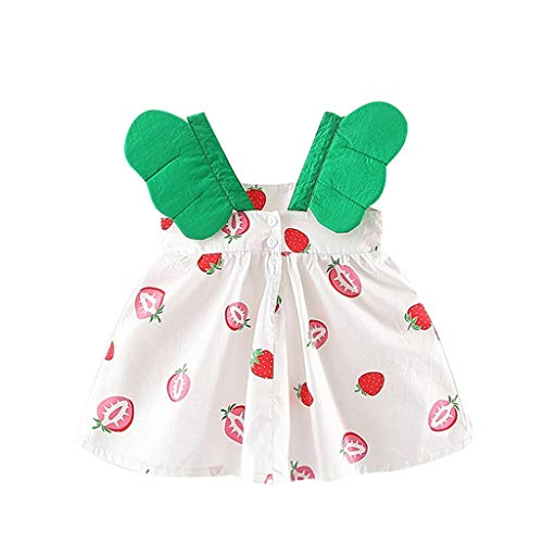 Baby Girls Summer Dress,Toddler Kids Casual Floral Ruched Bow Dot Party Princess Dresses Outdoor Beach Vest Sundress White