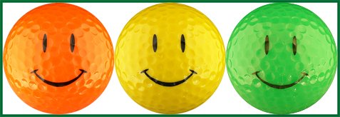 EnjoyLife Inc Happy Face Neon Bright Colorful Golf Ball Gift Set