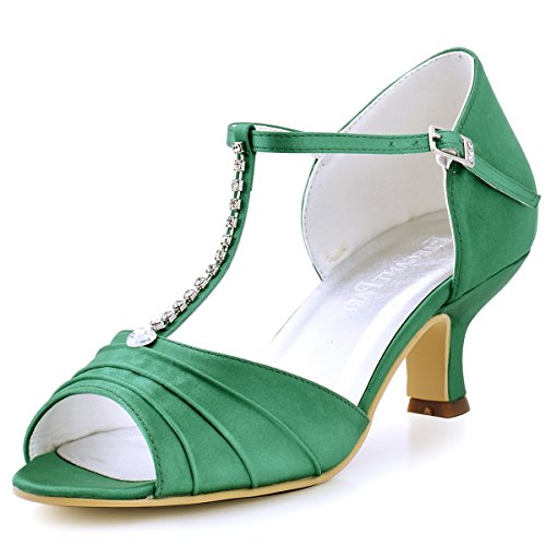 ElegantPark EL-035 Women Peep Toe T-Strap Pumps Mid Heel Rhinestones Satin Evening Wedding Sandals Green US 9 ()