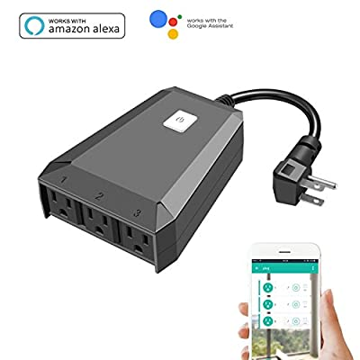 Outdoor Smart Plug that Works with Alexa Amazon [Echo,Echo Dot] and Google Home,Wifi Remote Control Outlet with 3 Sockets by Phone APP,Wireless Timer,On/Off,Plug-In,Waterproof IP44,No Hub Required