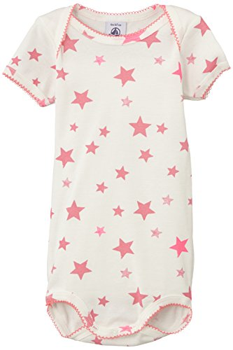 (PETIT BATEAU Baby Girls S/S Onsie-Bodysuit White-Pink Star Print Style 12130 Sizes 3-24 Months (Size 18/M Style 12130))