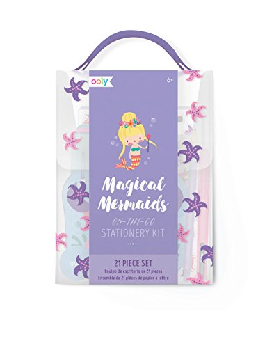 Ooly Magical Mermaid On-the-Go Stationery Kit - 21-Piece Gift Set With Reusable Traveling Case