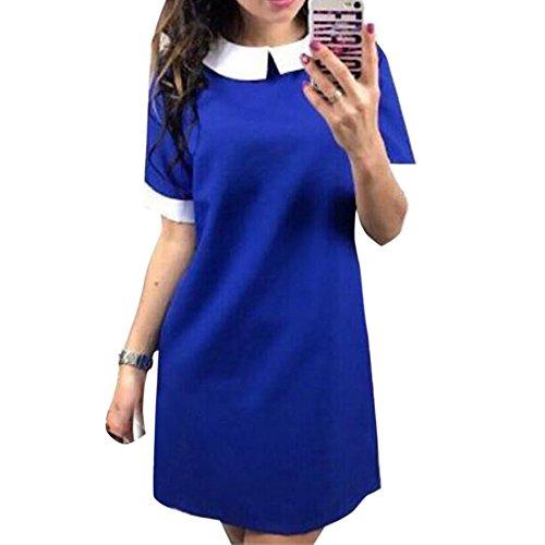 Rond Femme de Poupe Courtes Couleur Col Polyester Bleu Sfit Unie Col en Manches Robe gtpd4xwx