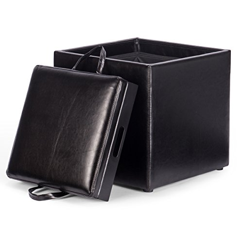 Giantex PU Leather Square Storage Ottoman Wood Seat Box with Serving Tray Footstool (Black)