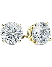2.0 ct Round Brilliant Cut Simulated Diamond CZ Solitaire Stud Earrings in 14k Yellow Gold Push Back