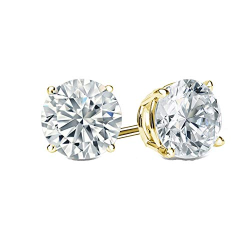 (2.0 ct Round Brilliant Cut Simulated Diamond CZ Solitaire Stud Earrings in 14k Yellow Gold Push)