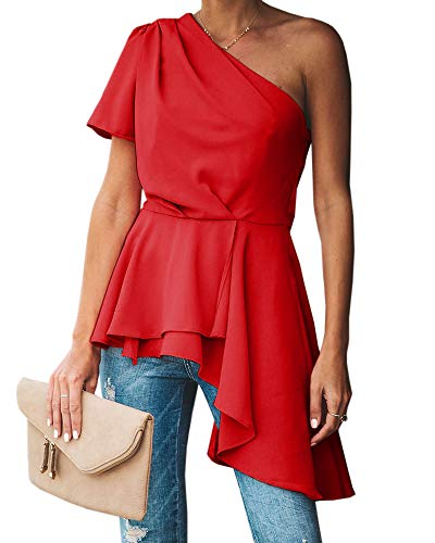 Valphsio Womens Ruffle Party Blouse One Shoulder Asymmetrical Peplum Statement Top Shirts