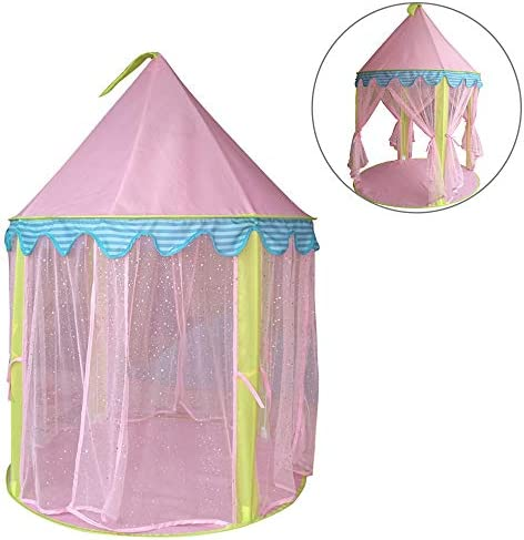 MIFXIN Kids Play Tent Princess Castle Play Tent Girls Playhouse Castle Play House for Children Indoor Outdoor Games 39`` x 53`` (Pink)
