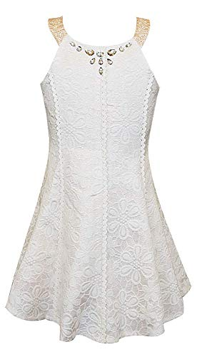Hannah Banana Big Girls Tween 7-16 Ivory Jeweled U-Neck Brocade Halter Dress (12, Ivory)